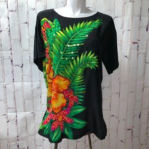 Diane Gilman 90's Silk Blouse Top Tunic 1X Floral